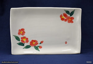 Handmade dinnerware with Sumi-e drawings of a Camellia