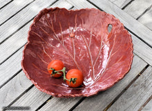Load image into Gallery viewer, Handmade dinnerware, Rhubarb leaf bowl, variant 3, another image