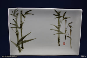 Another angle of  Handmade dinnerware with Sumi-e drawings of a Bamboo Forest