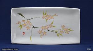 Handmade dinnerware with Sumi-e drawings of a Sakura