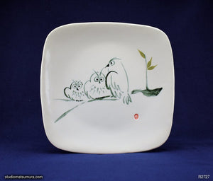 Handmade dinnerware with Sumi-e drawings of Three Owls