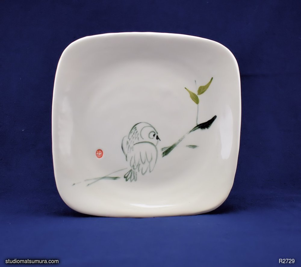 Handmade dinnerware with Sumi-e drawings of a Young Owl