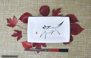 Another angle of  Handmade dinnerware with Sumi-e drawings of a fox