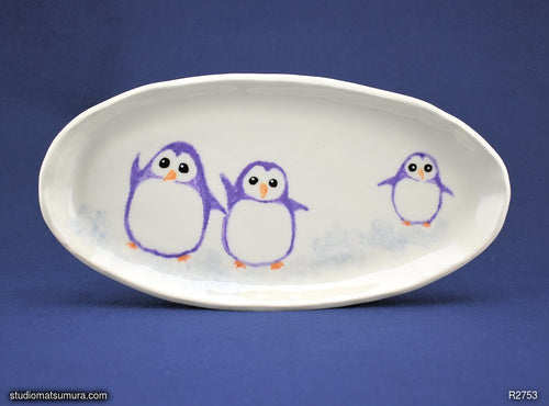 Handmade dinnerware. Cheerful penguins. Stoneware.