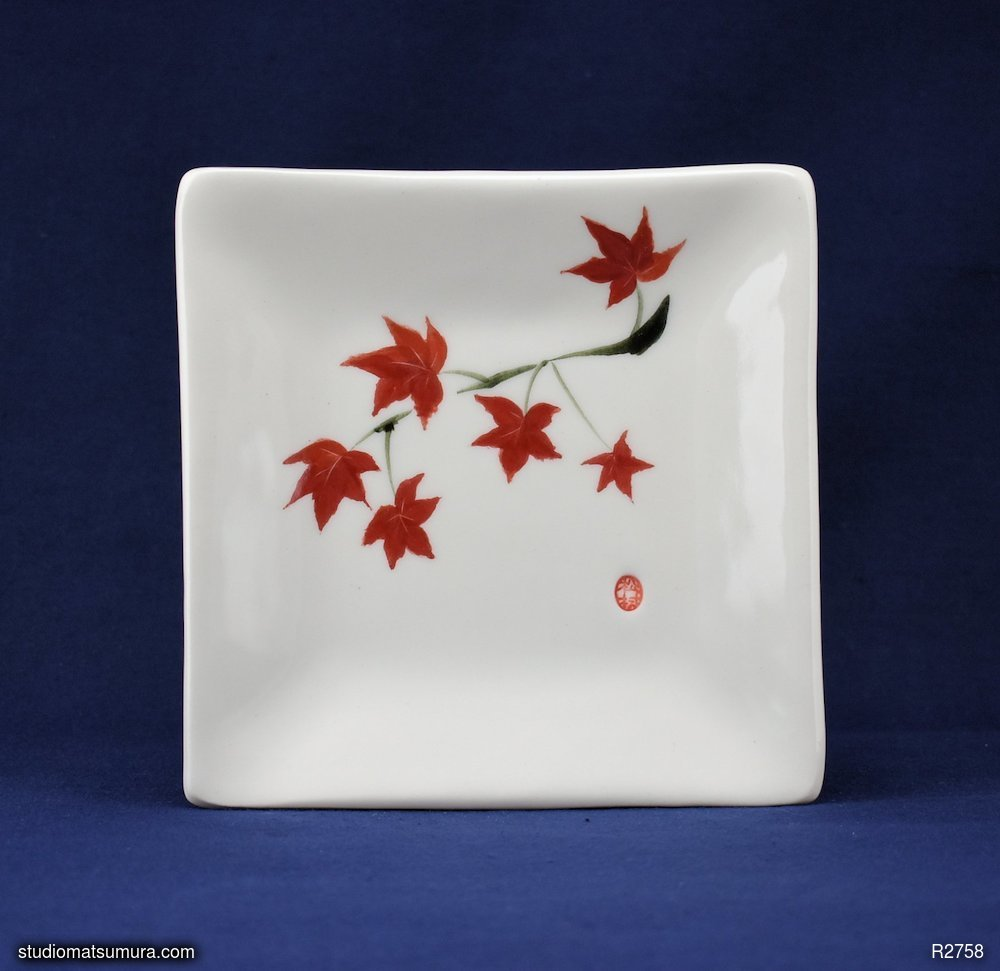 Handmade dinnerware with Sumi-e drawings of a Japanese maple (square)