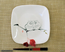 Load image into Gallery viewer, Another angle of  Handmade dinnerware with Sumi-e drawings of Two Sibling Owls