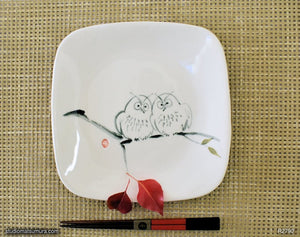 Another angle of  Handmade dinnerware with Sumi-e drawings of Two Sibling Owls