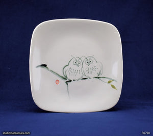 Handmade dinnerware with Sumi-e drawings of Two Sibling Owls