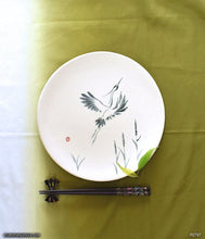 Load image into Gallery viewer, Another angle of  Handmade dinnerware with Sumi-e drawings of a Snowy Heron