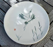 Load image into Gallery viewer, Handmade dinnerware with Sumi-e drawings of a Snowy Heron, another image