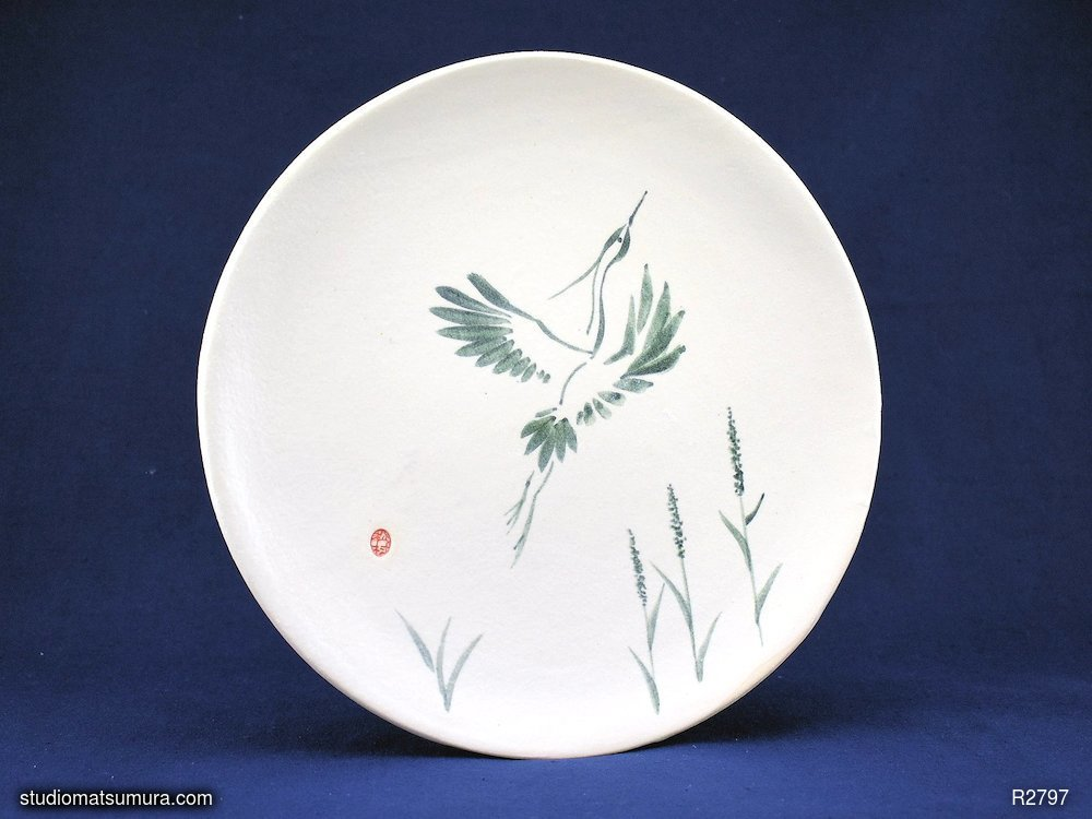 Handmade dinnerware with Sumi-e drawings of a Snowy Heron