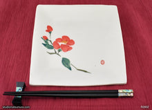 Load image into Gallery viewer, Another angle of  Handmade dinnerware with Sumi-e drawings of a Camellia (left)