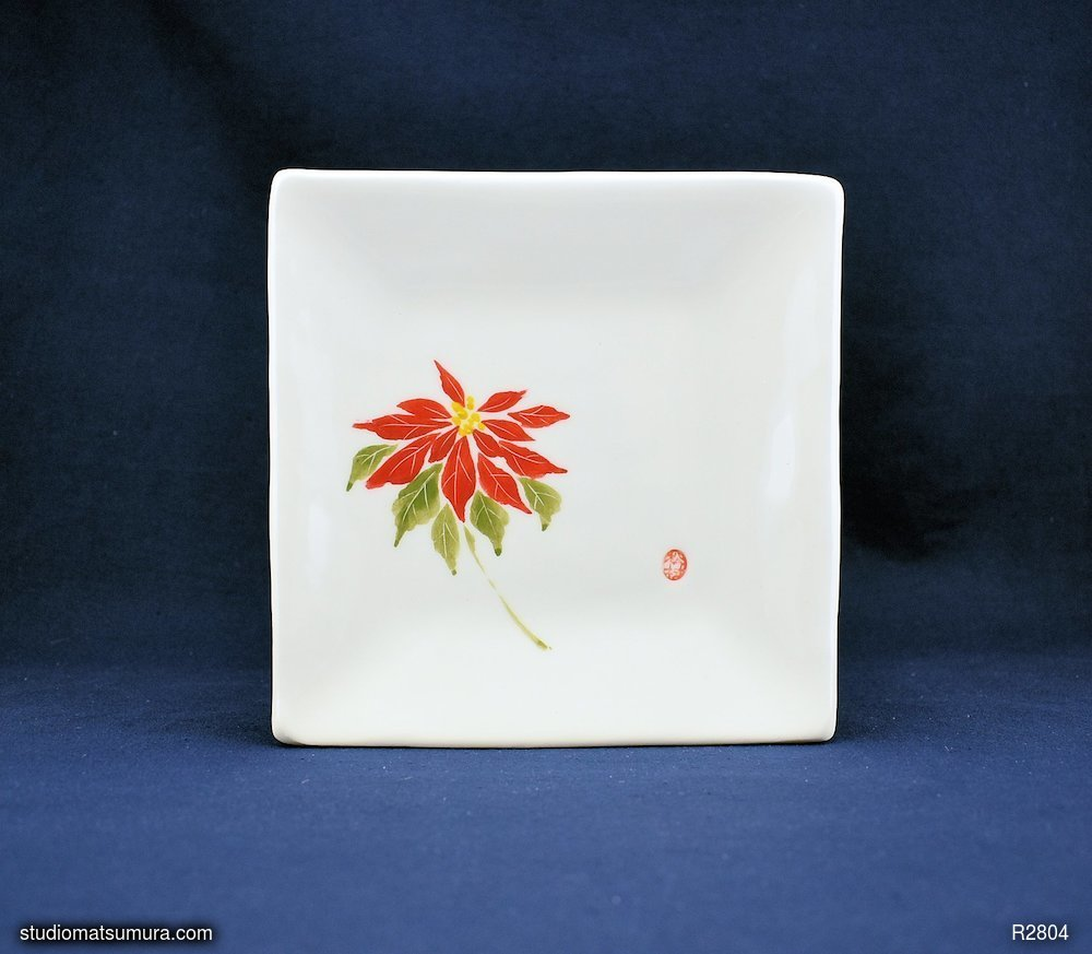 Handmade dinnerware with Sumi-e drawings of a Poinsettia