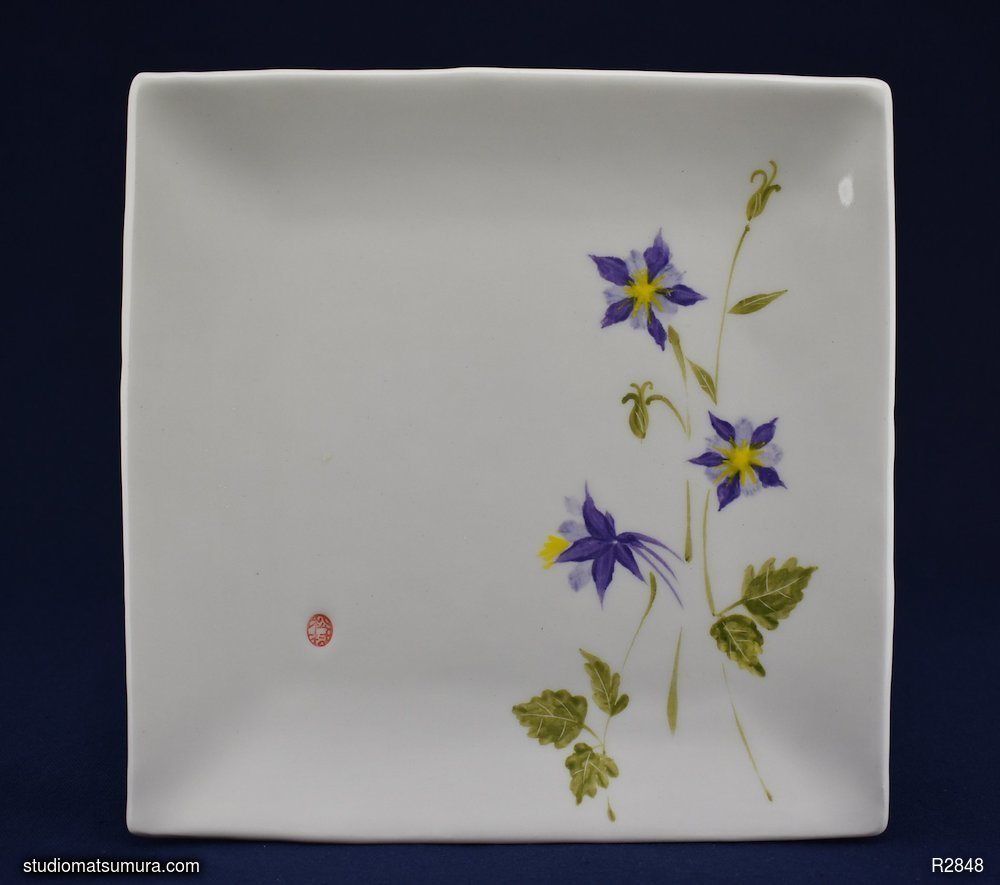 Handmade dinnerware with Sumi-e drawings of a Purple Columbine