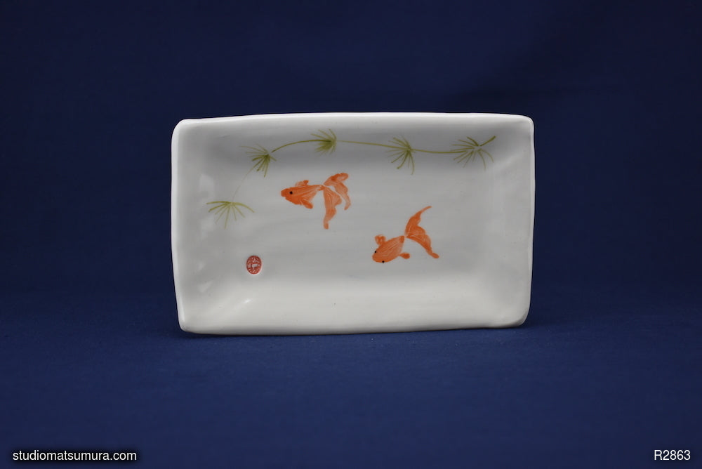 Handmade dinnerware with Sumi-e drawings of a Goldfish