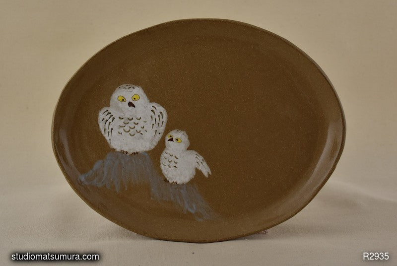 Handmade Stoneware dinnerware with snow owls drawings