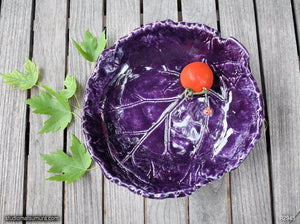Handmade dinnerware, Rhubarb purple leaf bowl with a ladybug, another image