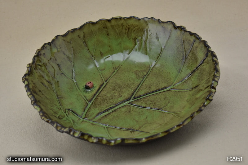 Handmade dinnerware, Rhubarb leaf with a ladybug, stonware, bowl