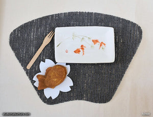 Another angle of  Handmade dinnerware with Sumi-e drawings of Gold fishes, two fan tails