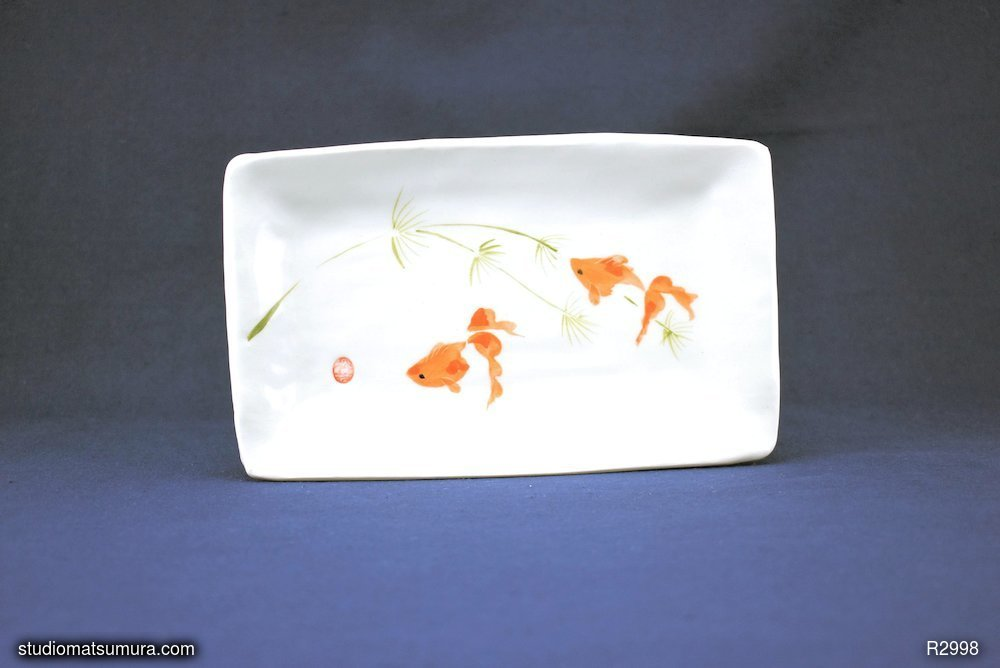 Handmade dinnerware with Sumi-e drawings of Gold fishes, two fan tails