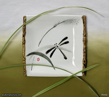 Load image into Gallery viewer, Another angle of  Handmade dinnerware with Sumi-e drawings of a Dragonfly on a grass leaf