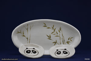 Hand drawn Panda and Bamboo dinnerware set, stoneware.