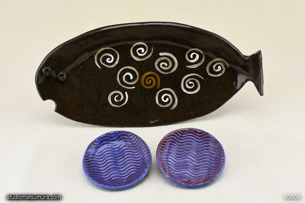 Handmade dinnerware, Fish and Sea combo set, stoneware.