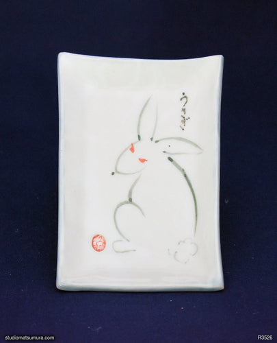 Handmade dinnerware with Sumi-e drawings of a Rabbit design, portait orientation