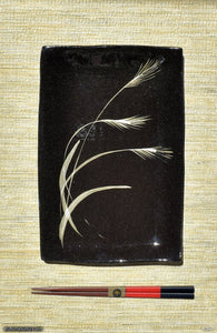 Handmade dinnerware with Sumi-e drawings of a Japanese Pampas grass, another image