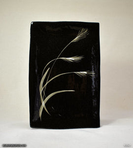 Handmade dinnerware with Sumi-e drawings of a Japanese Pampas grass