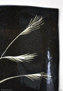 Another angle of  Handmade dinnerware with Sumi-e drawings of a Japanese Pampas grass