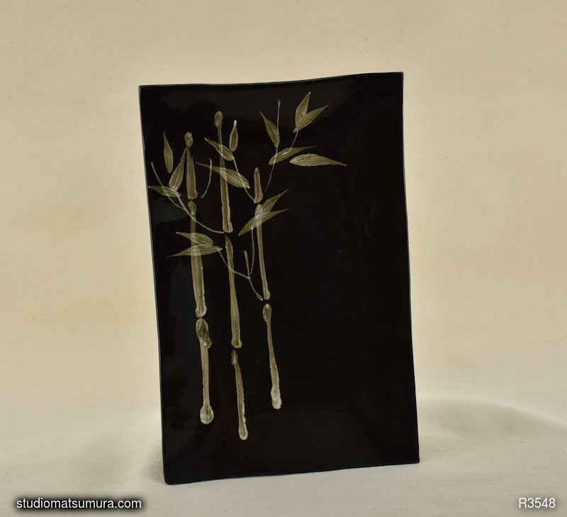 Handmade dinnerware with Sumi-e drawings of a Bamboo on black stoneware