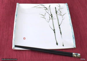 Another angle of  Handmade dinnerware with Sumi-e drawings of a Bamboo with trim (long)