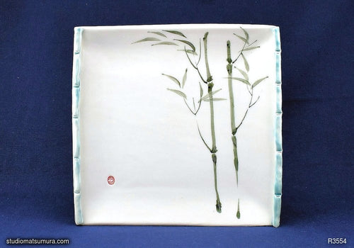 Handmade dinnerware with Sumi-e drawings of a Bamboo with trim (long)
