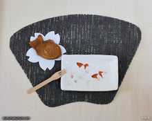 Load image into Gallery viewer, Another angle of  Handmade dinnerware with Sumi-e drawings of two red Goldfishes