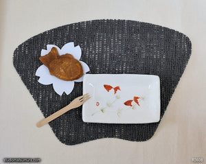 Another angle of  Handmade dinnerware with Sumi-e drawings of two red Goldfishes
