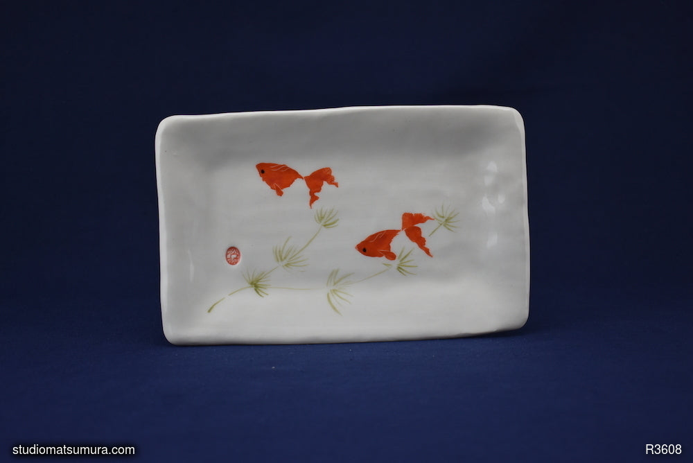 Handmade dinnerware with Sumi-e drawings of two red Goldfishes