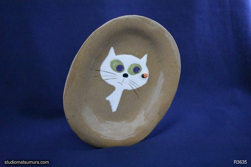 A Cat & Ladybug by the window, variant 2.  Handmade Stoneware Dinnerware