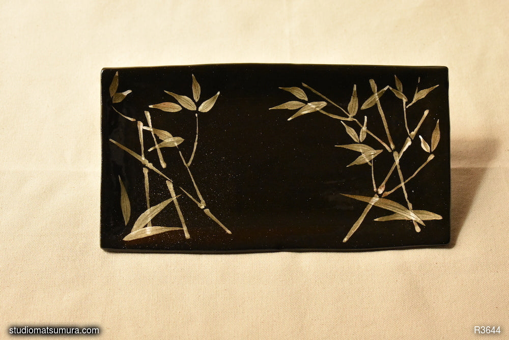 Handmade dinnerware with Sumi-e drawings of a Bamboo Forest on black stoneware