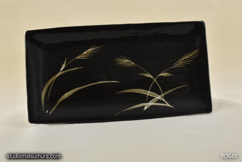 Handmade dinnerware with Sumi-e drawings of a Grass in Wind, on black stoneware