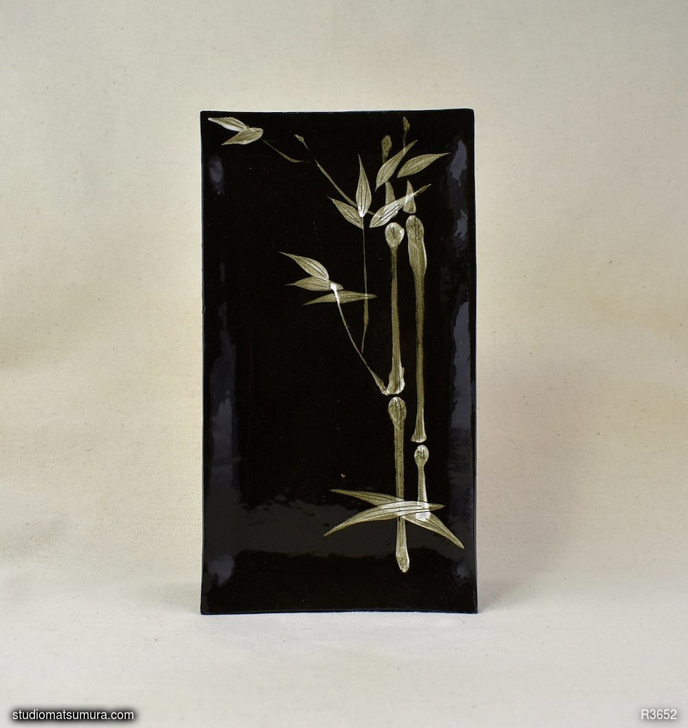 Handmade dinnerware with Sumi-e drawings of a Bamboo on black stoneware, variant 4