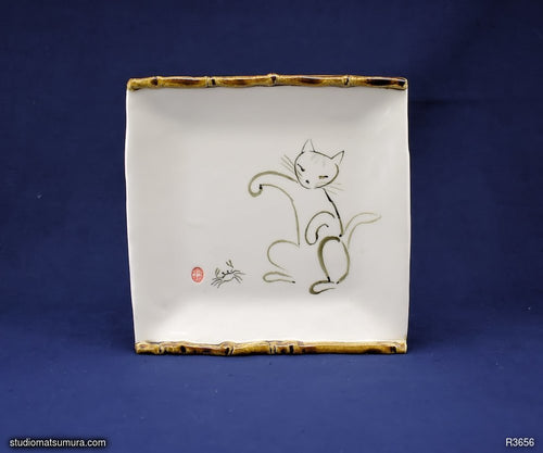 Handmade dinnerware with Sumi-e drawings of a Cat and freshwater Crab