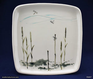 Handmade dinnerware with Sumi-e drawings of a Dragonfly by the Shoreline