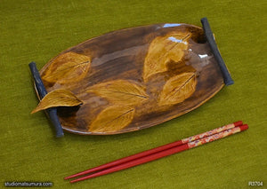 Handmade dinnerware, Dancing leaf with decoration, another image