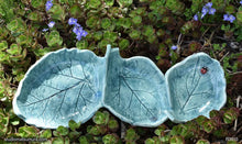 Load image into Gallery viewer, Another angle of  Handmade dinnerware, Three small rhubarb leaves bowl