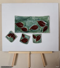 Load image into Gallery viewer, Another angle of  Handmade dinnerware, Dancing leaves 4 piece set