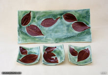Load image into Gallery viewer, Handmade dinnerware, Dancing leaves 4 piece set