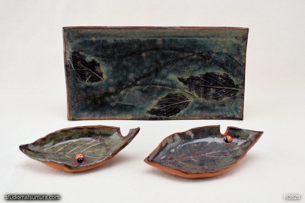 Handmade dinnerware, Dancing leaf dipping plate set