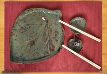 Load image into Gallery viewer, Another angle of  Handmade dinnerware, Rhubarb leaves plate set, with a pink snail