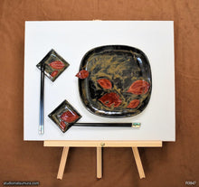 Load image into Gallery viewer, Another angle of  Handmade dinnerware, Dancing leaf square plate set